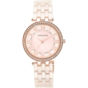 Anne Klein Women's Crystal Accent Rose Goldtone Bracelet Watch 34mm AK/2130RGLP