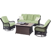 Hanover Orleans 4 pc. Woven Lounge Set with Fire Pit Table
