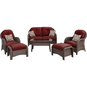 Hanover Outdoor Newport 6 Pc. Woven Seating Set