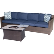 Hanover Metropolitan 3 Pc. Sofa Set with Woven Fire Pit, Navy Blue
