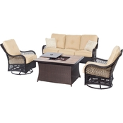 Hanover Outdoor Orleans 4-Pc. Woven Lounge Set with Fire Pit Table, TAN B