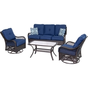 Hanover Outdoor Orleans 4-Pc. All Weather Patio Set, Blue