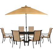 Hanover Brigantine 7 pc. Outdoor Dining Set with Glass Top Table and 9 ft. Umbrella