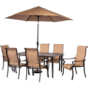 Hanover Brigantine 7 pc. Outdoor Dining Set with Cast Top Table and 9 ft. Umbrella