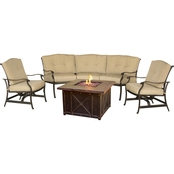 Hanover Outdoor Traditions Conversation with Durastone Fire Pit 4 Pc. Set