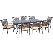 Hanover Traditions 9 pc. Outdoor Dining Set with Extra Long Table and 8 Chairs