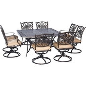 Hanover Traditions 9 pc. Outdoor Dining Set with Square Table and 8 Swivel Rockers