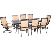 Hanover Outdoor Manor 9 Pc. Outdoor Dining Set with Two Swivel Rockers
