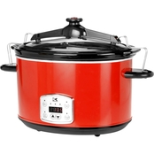 Kalorik Red 8 Qt. Digital Slow Cooker with Locking Lid