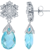 Disney Enchanted 14K White Gold Aquamarine Diamond Accent Elsa Snowflake Earrings