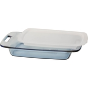 Pyrex Easy Grab Atlantic Blue 3 Qt. Oblong Glass Baking Dish with Lid