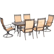 Hanover Manor 7 pc. Outdoor Dining Set with 2 Swivel Rockers