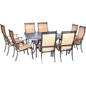 Hanover Manor 9 pc. Outdoor Dining Set with Large Square Table