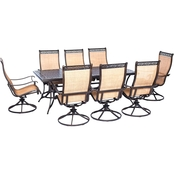Hanover Manor 9 pc. Outdoor Dining Set with 8 Swivel Rockers