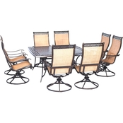 Hanover Manor 9 pc. Outdoor Dining Set with Square Table and 8 Swivel Rockers