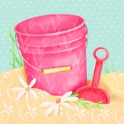 GreenBox Art Shovel and Pink Pail Canvas Wall Art 10 x 10