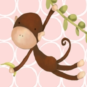 GreenBox Art 10 x 10 Pink Hanging Monkey Canvas Wall Art