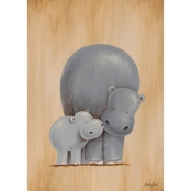 Greenbox Art 10 x 14 Safari Kisses Hippos Canvas Wall Art