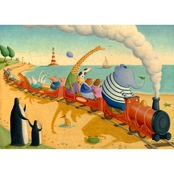 Greenbox Art 24 x 18 Seaside Train Ride Canvas Wall Art