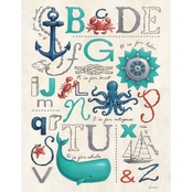 GreenBox Art 14 x 18 Nautical ABCs Canvas Wall Art