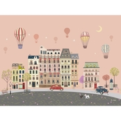 GreenBox Art Sweet Street Balloons at Dusk Canvas Wall Art 24 x 18