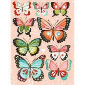 Greenbox Art 18 x 24 Pink Butterflies Canvas Wall Art