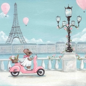 Greenbox Art 14 x 14 Little Pink Vespa Canvas Wall Art