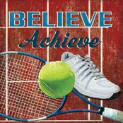 GreenBox Art 14 x 14 Believe Achieve Tennis Canvas Wall Art