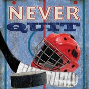 GreenBox Art 14 x 14 Never Quit, Hockey Canvas Wall Art