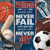 Greenbox Art 21 x 21 Winners Never Quit Canvas Wall Art