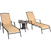 Hanover Outdoor Monaco Chaise Lounge Chairs and Fire Urn 3 Pc. Set