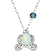 Disney Enchanted Sterling Silver Lab Created Opal Cinderella Carriage Pendant