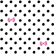 Springs Creative Ditzy Bows and Polka Dots on White Fabric