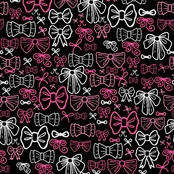 Springs Creative Pink and White Bows on Black Fabric