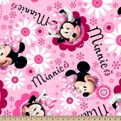 Disney Minnie Mouse Face Fleece Fabric