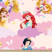 Disney Princess Clouds Fleece Fabric