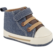 Wee Kids Infant Boys Denim Hi Top with Velcro Shoes