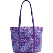 Vera Bradley Small Trimmed Vera, Lilac Tapestry with Purple Trim