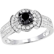 Diamore 14K White Gold 1 CTW Black and White Diamond Halo Engagement Ring