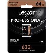 Lexar Professional 633x 64GB SDHC UHS-1 High-speed Memory Card