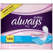 Always Thin Dailies Unscented Wrapped Liners 120 ct.