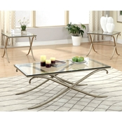 Furniture Of America Denisa Coffee and End Table 3 Pc. Set