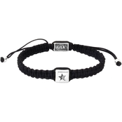 King Baby Black Macrame Bracelet with Single White Alloy Square Bead