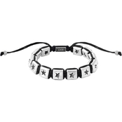 King Baby Macrame Bracelet with White Alloy Square Star Beads