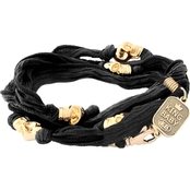 King Baby Multi Wrap Black Silk Bracelet with Skull Beads