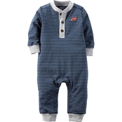 Carter's Infant Blue and Heather Stripe Jersey Jumpsuit