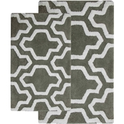 Saffron Fabs Quatrefoil 2 Pc. Bath Rug Set, 24 x 17 and 34 x 21