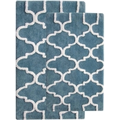 Saffron Fabs Geomatrics 2 Pc. Bath Rug Set, 24 x 17 and 34 x 21