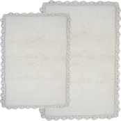 Chesapeake Crochet 2 Pc. White Bath Rug Set 43850 (21