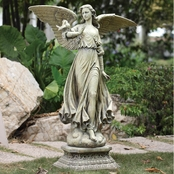 Joseph Studio Angel On A Pedestal Garden Statue
